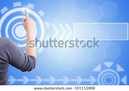 Business lady pushing digital button on touch screen interface. - stock photo