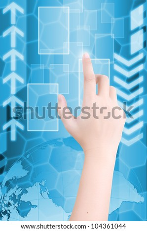 Business lady pushing digital button on touch screen interface.