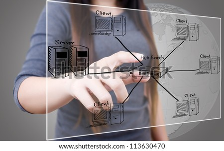 Business lady pushing LAN Network diagram on the touchscreen interface. - stock photo