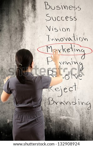 Business lady pushing marketing word on wall. - stock photo