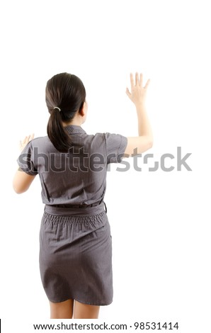 Business lady pushing on the whiteboard. - stock photo
