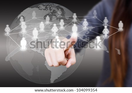 Business lady pushing people Social Network. - stock photo