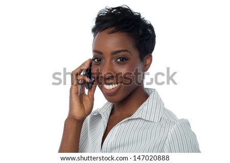Business lady speaking over cellphone - stock photo
