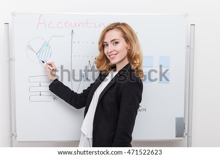 Business lady standing near whiteboard and drawing pie graph getting ready to meeting with colleagues. Concept of conference