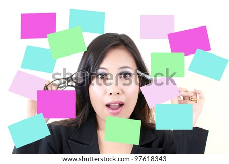 Business lady thinking with sticky note.