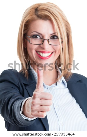 Business lady thumb up. Successful and confident businesswoman concept. - stock photo
