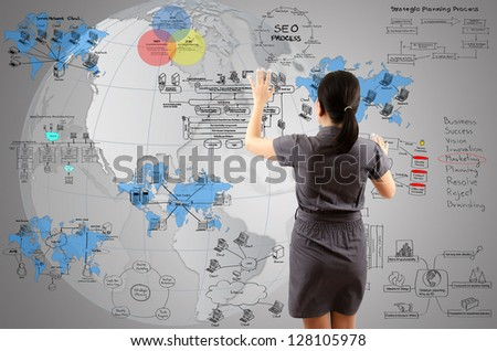 Business Lady touching Detail of Business and Technology Concept on the whiteboard. - stock photo
