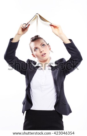 Business lady  with daily planner - stock photo