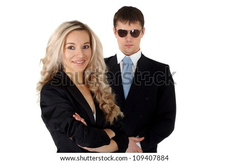 Business lady with his bodyguard on a white background - stock photo