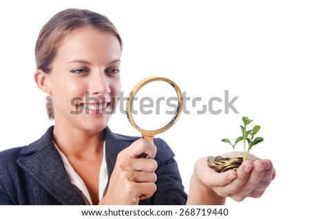 Business lady with magnifying glass isolated on white - stock photo