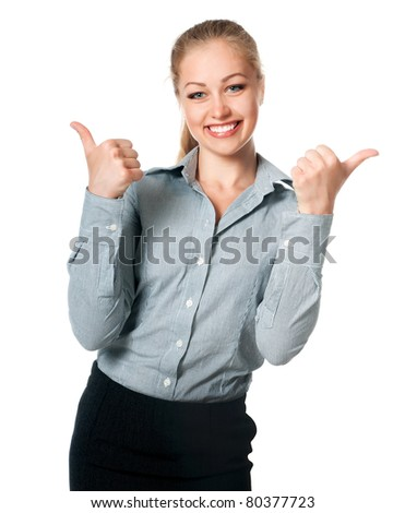 business lady with thumb up isolated on white
