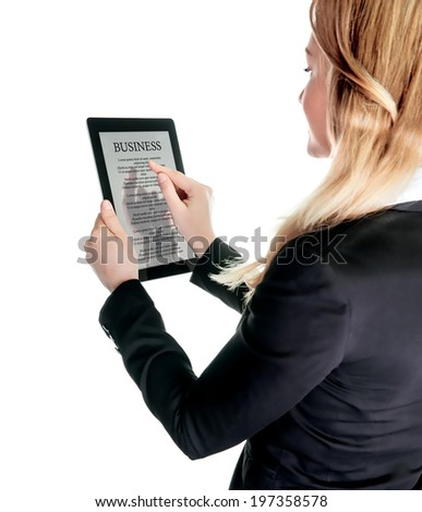 Business lady with touch pad, checking on business news, using portable mobile device, touch screen tablet, business people using modern technologies - stock photo