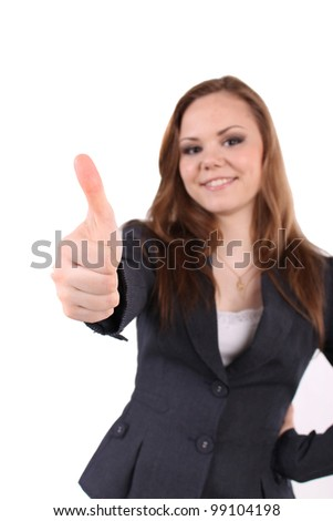Business lady, woman holds her thumb up - stock photo
