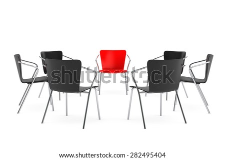 Chairs Arranging Round With Boss Chair On A White Background. 3d