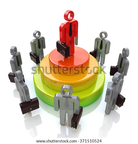 Business leader. Competition for the design of information related to the business and the people - stock photo