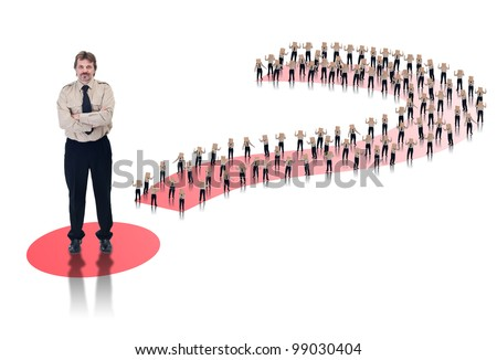 Business leader concept - lots of box headed businessman in question mark - stock photo
