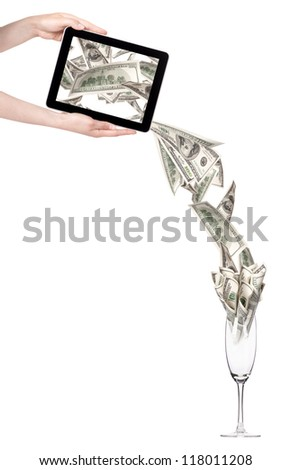 business leader concept with tablet PC screen  isolated on a white background