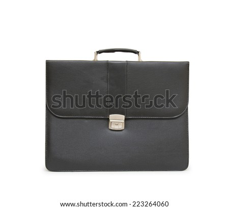 Business leather briefcase isolated - stock photo