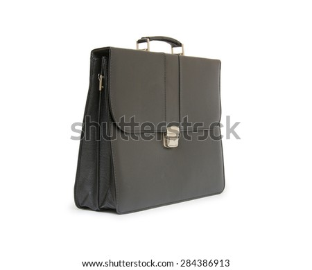 Business leather briefcase isolated