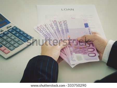 Business loan from a bank employee. finance concept - stock photo