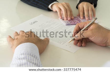 Business loans from a bank employee. finance concept - stock photo