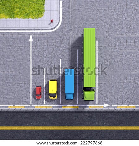Business logistic transportation service growth background graphs illustration with colourful transport cars types and road infrastructure - stock photo