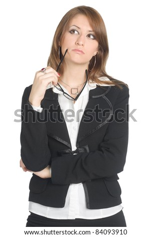 business look woman think something about with glasses in her hand