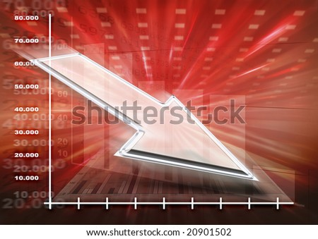 Business Loss / decrease background - stock photo