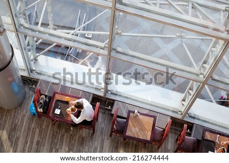 business lunch, top view - stock photo