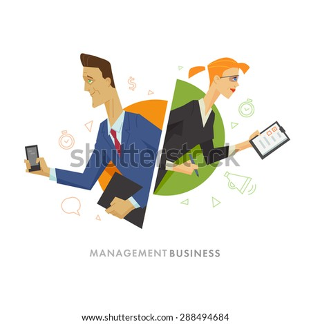 Business male and female user symbol illustration. Flat illustration - stock photo