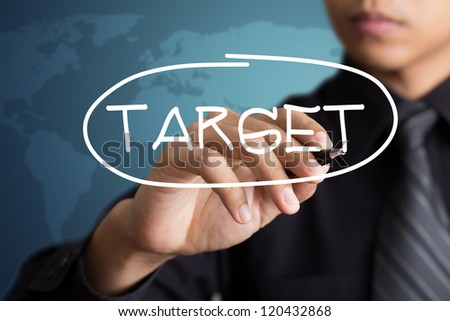 business man access the target - stock photo