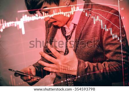 Business man action against candle stick graph chart of stock market investment trading, monotone color, Bullish point, Bearish point. trend of graph. down trend - stock photo