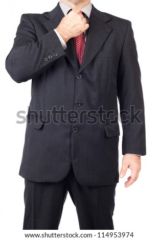 Business man adjusting tie, Business man style. - stock photo
