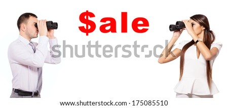 Business man and business woman looking through binoculars on an inscription For sale. Man and woman looking through binoculars at each other. Space for text. Isolated on white background. - stock photo