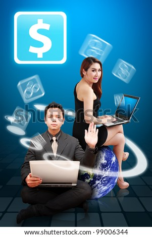Business man and Business woman present the Money icon from globe : Elements of this image furnished by NASA