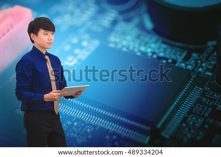 Business man and circuit chip background
