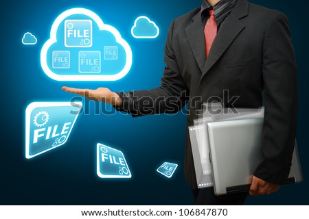 Business man and Cloud computing concept - stock photo