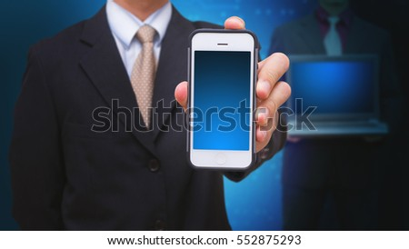 Business man and digital devices