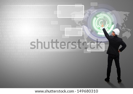 Business man and digital technology background - stock photo