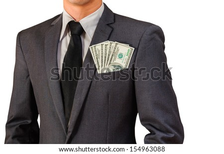business man and dollar bill on isolated white - stock photo
