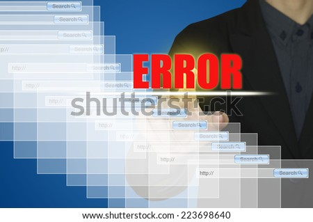 Business man and error message on computer. - stock photo