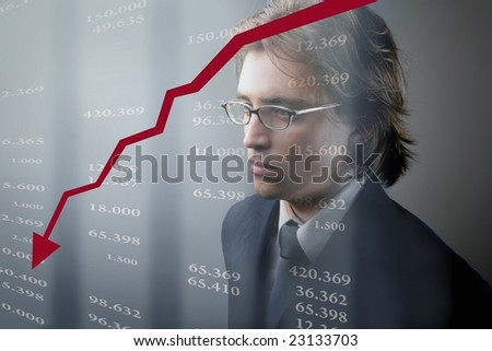 business man and graphic - stock photo