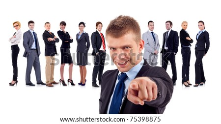 business man and his team, leader is pointing at the camera isolated - stock photo