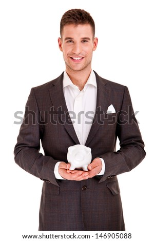Business man and piggy bank isolated on white background - stock photo