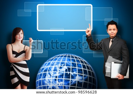 Business man and secretary look at the space box on earth : Elements of this image furnished by NASA