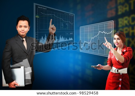 Business man and secretary present the stock exchange graph report