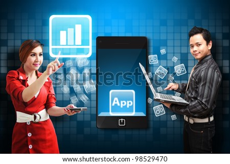Business man and secretary touch the Graph icon from mobile phone - stock photo