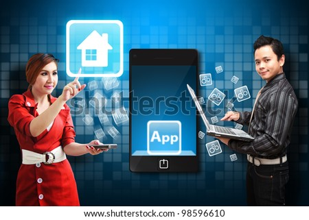 Business man and secretary touch the House icon from mobile phone - stock photo