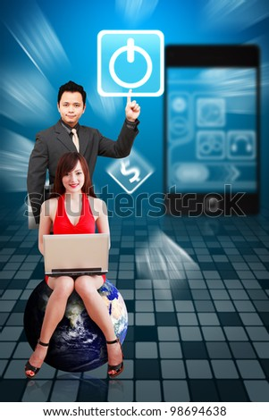 Business man and secretary touch the Power icon from mobile phone : Elements of this image furnished by NASA