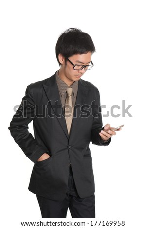 Business man and smart phone isolated on white background